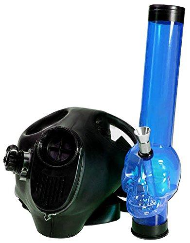 Bong acrílico Gas Máscara Rojo con madera Caletre. 45 cm