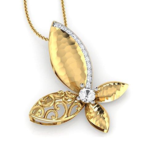 Or jaune 14K 0,07ct tw Round-cut-diamond (IJ | SI) et blanc Topaze Pendentif