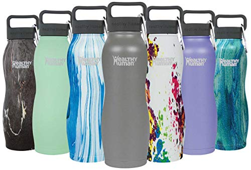 (Healthy Human Insulated Stainless Steel Water Bottle Curve - Cold 24 Hours/Hot 12 Hours - Double Walled Vacuum Flask with Hydro Guide & Carabiner - 21 oz Slate Gray)