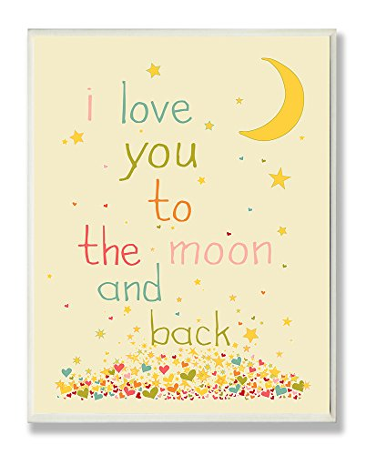 The Kids Room by Stupell I Love You to The Moon and Back Rectangle Wall Plaque, 11 x 0.5 x 15, Proudly Made in USA ()