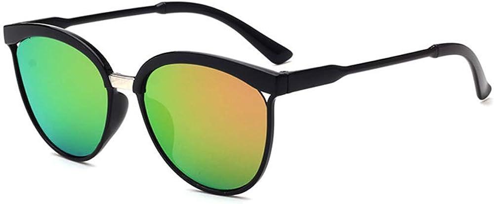 Qmber Retro Runde Katzenaugen Sonnenbrille Mirrored Flach Linsen Retro Polarisierte Doppelte Kreis Spiegel Metall Rahmen