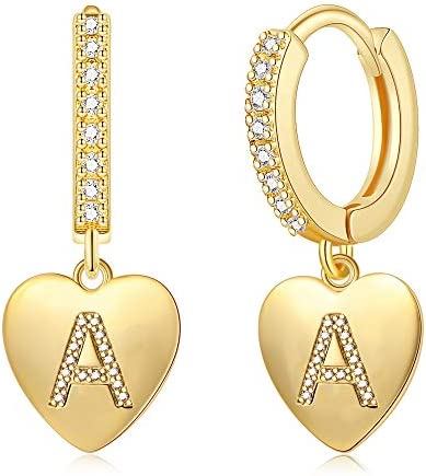 Initial Hoop Earrings Heart Drop Dangle Alphabet Letters A To Z Hoop Earrings for Girl 14K Real Gold Plated Huggie Earrings
