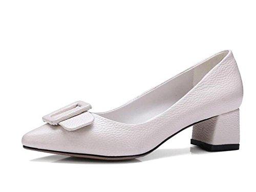 Beauqueen 2017 Fashion Pumps Peep-toe de tacón alto de verano de tacón bajo de verano Casual zapatos elegantes Europa de la Oficina Tamaño 34-39 White