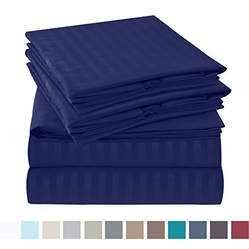 Nestl Bedding Bed Sheet Set - Damask Stripes - Soft Brushed Microfiber - 2 Extra Pillowcases 6 Piece Queen Size, Royal Blue