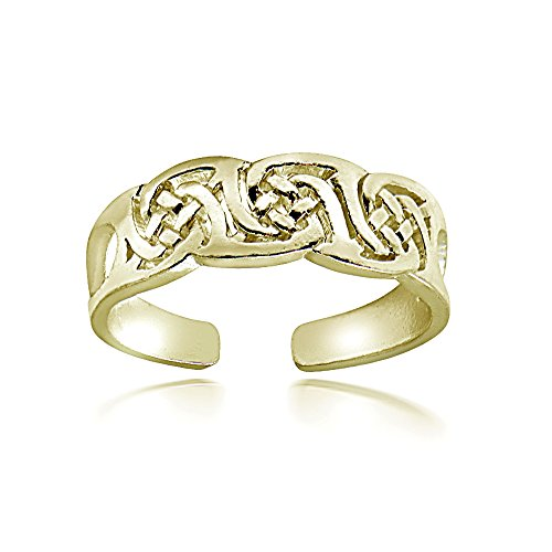 Hoops & Loops Sterling Silver Flash Plated Gold Irish Celtic Knot Toe Ring (Cat Woman Costume Ideas)