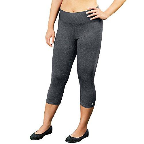 Champion Women's Plus-Size Absolute Capri Legging with SmoothTec Waistband, Granite Heather, 3X