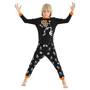 Hsctek Toddler and Kids Glow-in-The-Dark Halloween Pajamas Set