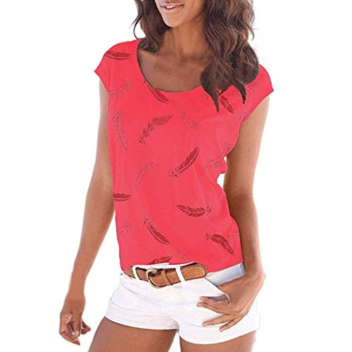 (ALLYOUNG Women's T-Shirt Blouse Printing Short Sleeve Casual Tunic Tops Shirts Summer New 2019 (Red, L))