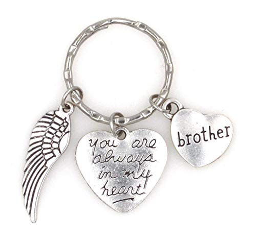 You are Always in My Heart Angel Wing Brother Keychain 107L