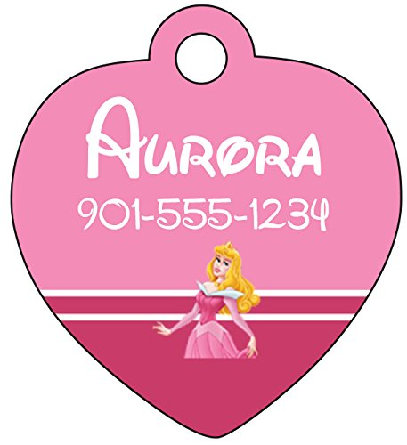 Princess Pet Tag (Disney Princess Aurora Sleeping Beauty Pet Id Tag for Dogs & Cats Personalized w/ Name & Number)