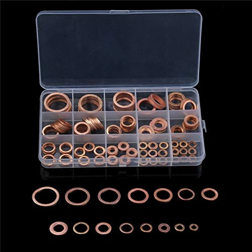 Triangle-Box - 250PCS Flat Ring Washer Gasket M5/6/8/10/12/14/16/18 Solid Copper Crush Spacer Oil Brake Sealing Kit For Hardware with Box