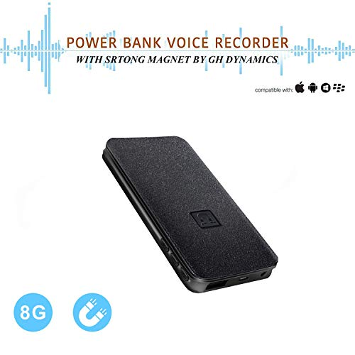 Voice Activated Recorder - 5000mh Power Bank Up to 25 Days Continuous Audio Recording,8GB 94 Hours Recordings Capacity, Functional Portable Charging Device | Build-in Strong Magnet