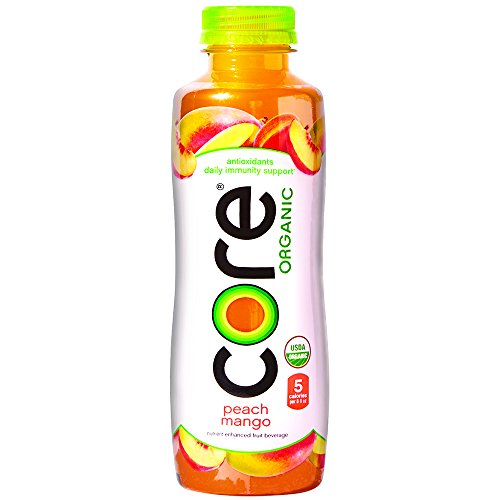 Fruit Flavored Beverage - CORE Organic Fruit Infused Beverage, Peach Mango, 18 Fl Oz (Pack of 12), Vegan/Gluten-Free, Non-GMO, Refreshing Flavored Water with Antioxidants, Great For Immunity Support
