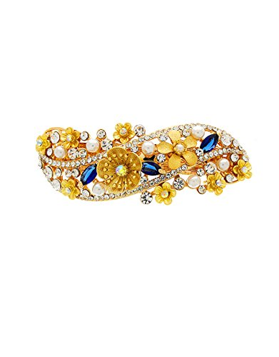 5d86537232485 Anuradha Art Golden Finish Styled With Studded Blue Colour Shimmering Stone  Hair Accessories Back Pin For Women/Girls