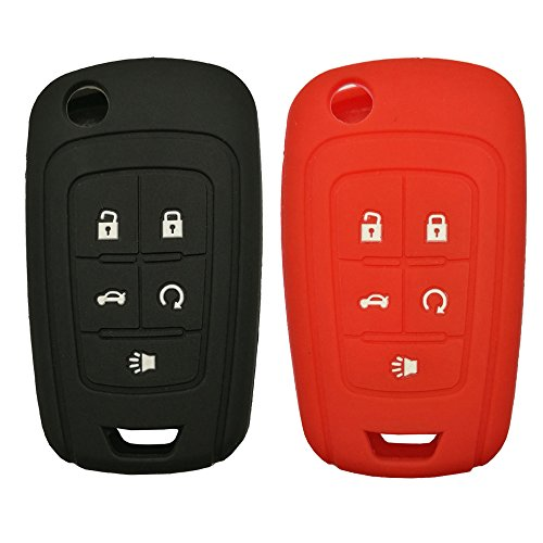 Keyless Entry Remote Key Fob Skin Cover Protective Silicone Rubber key Jacket Protector for Chevrolet Camaro Cruze Volt Equinox Spark Malibu Sonic (1 Black + 1 Red) ()