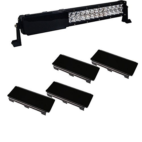 Lightronic 4pcs 8inch Black Light Bar Cover Offroad Protective Double Row LED Light Bar Cover Kits (8inch, - 42 Curved Trim Inch