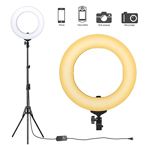 ZoMei Camera Photo Video Lighting Kit 14 inch Dimmable LED Ring Light with Stand & Color Temperature Hot Shoe for Portrait YouTube Video Shooting by TAIROAD (Image #7)