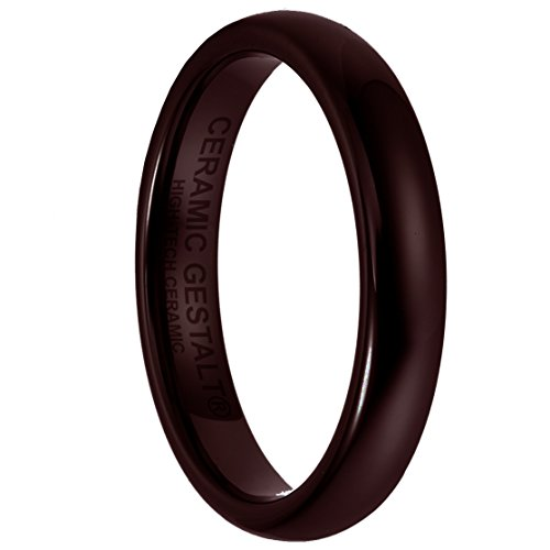 Brown Ceramic Ring - 4mm Width. Domed & Polished. (Avail. Sizes 5 to 14) Size 7 - RR4DP7
