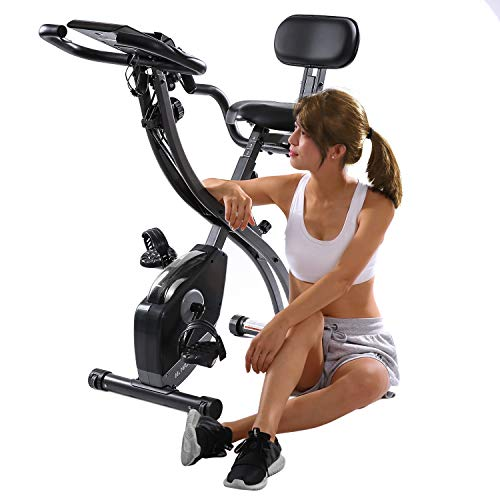 MaxKare Foldable Magnetic Exercise Bike with 8-Level Adjustable Magnetic Resistance and Pulse Rate Sensors