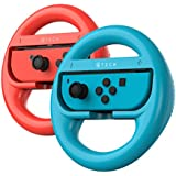 ATECH Steering Wheel Mario Kart 8 Deluxe Compatible with Switch Joy-Con Controllers - Red/Blue (Pack of 2)