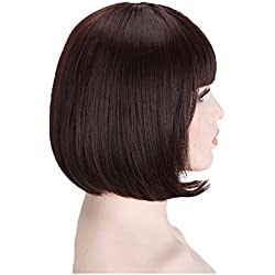 JX Roco Wigs Short Bob Hair Wig Straight Style with Flat Bangs/Free Wig Cap/Hairpieces Fashion Hairstyle for Cosplay/Halloween Party Costume for Fun/Daily Use Heat Resistant(Dark Brown)