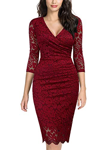 Miusol Women's Retro Deep-V Neck Ruffles Floral Lace Evening Pencil Dress (X-Large, B-Red)