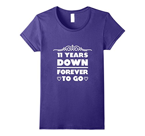 Womens 11th Wedding Anniversary Gift 11 Years Down Forever To Go Medium Purple