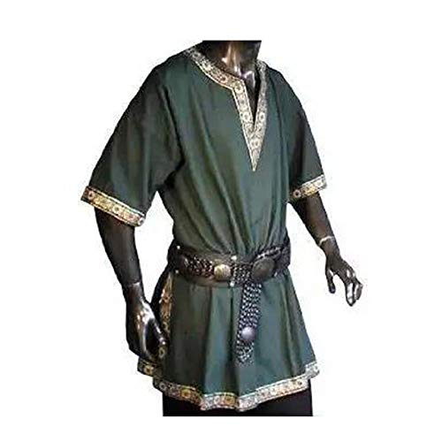Men Medieval Renaissance Cos Pirate Costume Tunic Top Shirt Army -