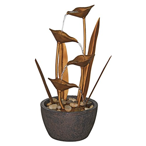 - Water Fountain - Copper Botanical Garden Decor Fountain - Outdoor Water Feature