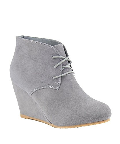 Cheap Anna Sally-5 Womens Adorable Almond Toe Lace up Wedge Ankle Bootie,Grey,6.5