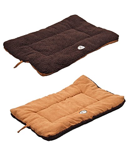 PET LIFE 'Eco-Paw' Reversible Eco-Friendly Recyclabled Polyfill Fashion Designer Pet Dog Bed Mat Lounge, Large, Brown and Cocoa