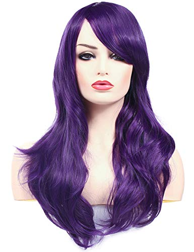 Morvally 23 inches Long Wig Big Wavy Heat Resistant Synthetic Straight Hair with Bangs for Womens Cosplay Costume Halloween Party (Purple)