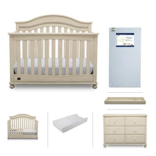 (Nursery Baby Furniture Set - 6 Pieces Including Convertible Crib, Dresser, Crib Mattress, Toddler Rail, Changing Top and Changing Pad - Simmons Kids Bristol Collection - Antique)