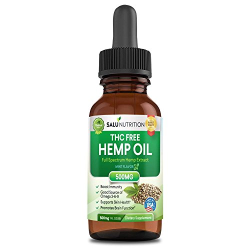 Hemp Oil,Hemp Extract with 500 Milligram Helps with Anxiety, Chronic Pain, Sleep, Mood, Skin and Hair Utilizing Liquid Hemp Extract Oil Drops by Salu Nutrition