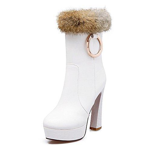 HSXZ Zapatos de mujer moda otoño invierno botas de piel sintética Bootie botas de tacón alto Round Toe botines/botines botas Mid-Calf para vestidos White