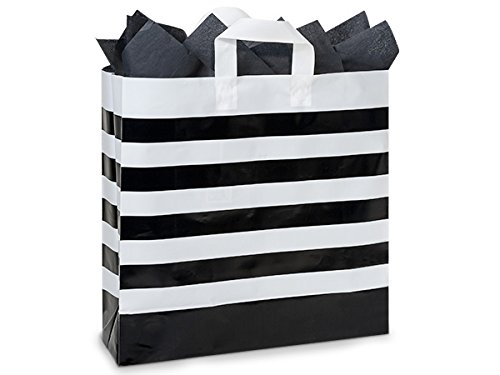 Pack Of 100, Black Bold Stripe Plastic Shopping Bags 4 Mil Hdpe W/6 Mil Soft Loop Handles - Queen 16 X 6 X 16'' For Christmas, Valentine'S Day And Weddings by Generic