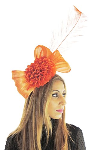 Hats By Cressida Silk Sinamay & Silk Flower Elegant Ladies Ascot Wedding Fascinator Hat Orange by Hats By Cressida