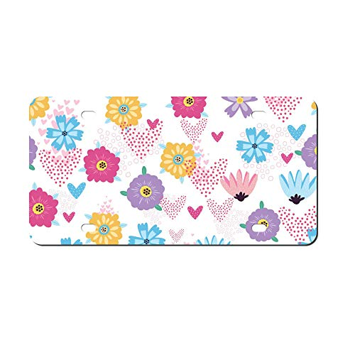 DKISEE Abstract Hearts Serdechki Flowers Pattern Seamless License Plate Cover Aluminum Car Front License Plate (Dallas-triathlon)