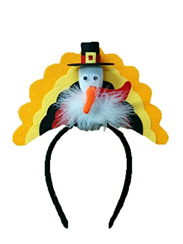 Turkey Trot 5k Costumes (Thanksgiving Pilgrim Turkey Trot Headband Hat Holiday Party Costume Accessory)