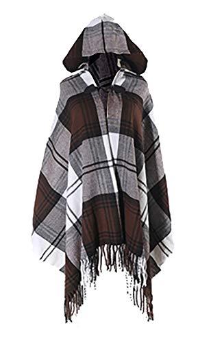 (QZUnique Simple Plaid Button Blanket Scarf Shawl Women's Wrap Hooded Coffee)