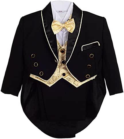 Dressy Daisy Baby Boys' 5 Pieces Formal Tuxedo Suit With Tail Christening Outfit
