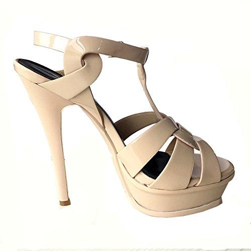 TAOFFEN Mujer Elegante Tacon De Aguja Sandalias Tacon Alto Correa En T Punta Abierta Zapatos De Hebilla Nude
