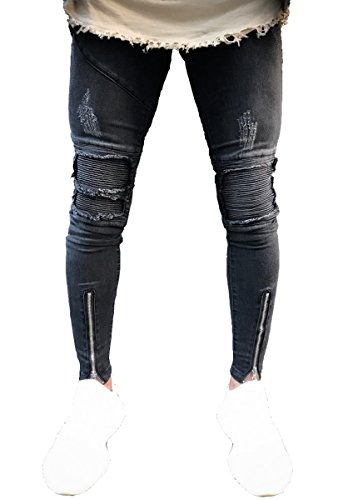 Men's Distressed Skinny Slim Fit Zip Jeans with Rips and Biker Details Black 28