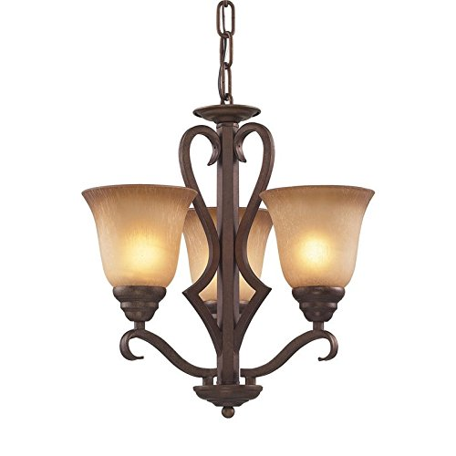 ELK 9326/3-LED, Lawrenceville Glass 1 Tier Chandelier Lighting, 3 Light LED, Mocha