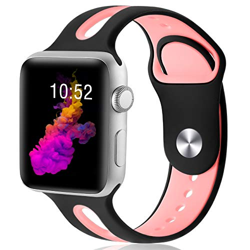 KOLEK Replacement Band Compatible with Apple Watch 38mm/40mm, Watch Bands 40mm/38mm, M/L, Black/Pink