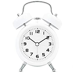 TXL 3.5 Twin Bell Alarm Clock Kids, Battery Operated with Nightlight, Handheld Sized, Non-Ticking Silent Metal Alarm Clocks for Bedrooms,Heavy Sleepers Bedside Analog Loud Alarm Clock(White)