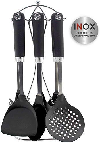 Bastilipo – Ginebra – Set de accesorios de cocina – 7 piezas: Espumadera, cucharon, cazo, espatula, espatula perforada…