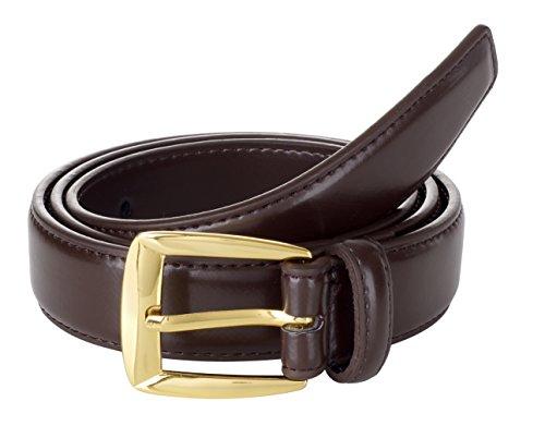 Sportoli8482; Mens Classic Stitched Genuine Leather Uniform Belt - Brown/Gold Buckle (36) (Gold Genuine Belt)