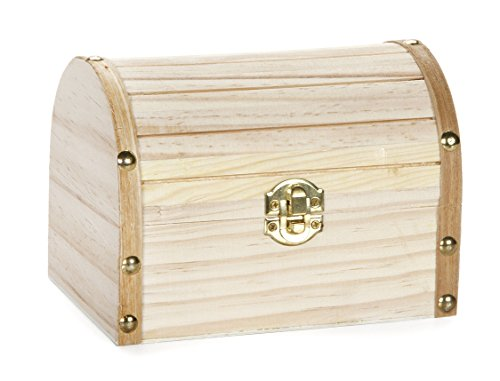 - Darice Wood Chest Hinged with Clasp, 6.1 x 4.1 x 4.3-Inch