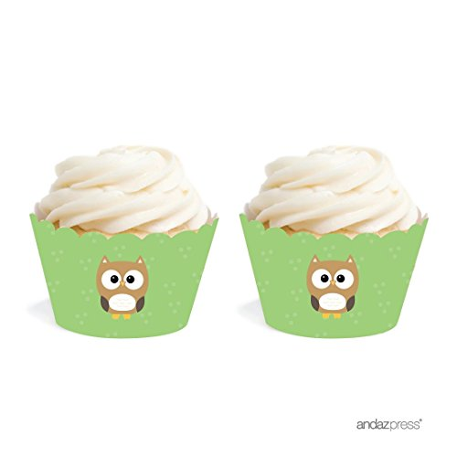 Andaz Press Birthday and Baby Shower Cupcake Wrappers, Woodland Owl, 20-Pack, Decor Decorations Wraps Cupcake Muffin Paper Holders -